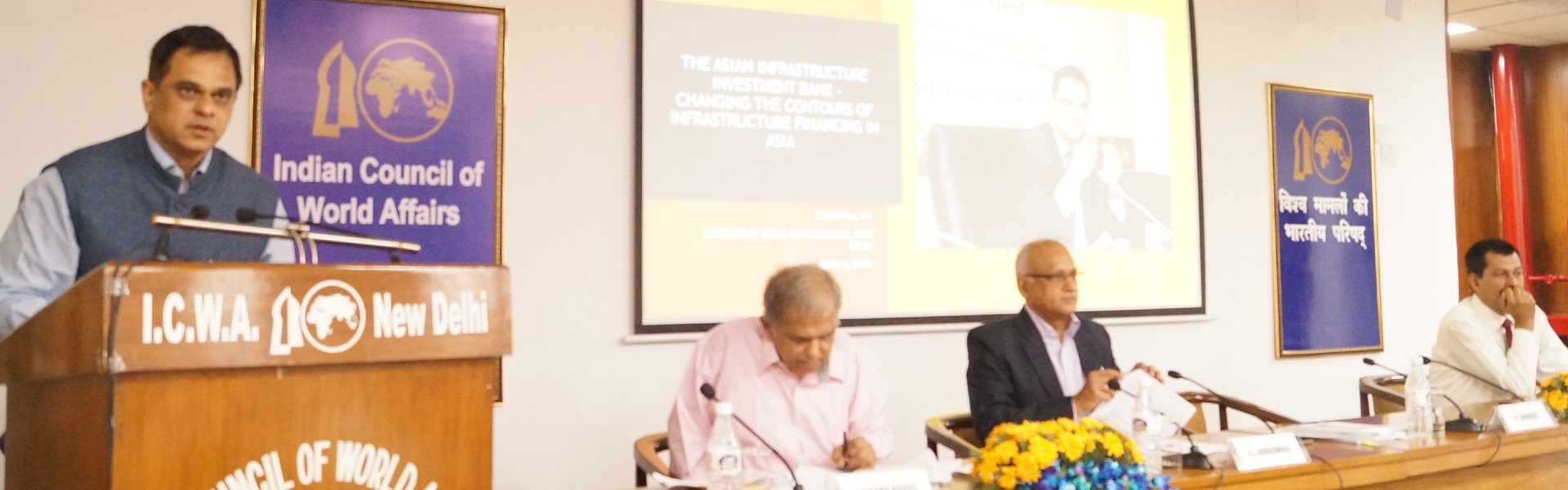 Shri V. Srinivas, IAS, Additional Secretary, Department of Administrative Reforms and Public Grievances, Ministry of Personnel, Public Grievances and Pensions, delivering a lecture on Asian Infrastructure Investment Bank - Changing Contours of Infrastructure Financing in Asia at Sapru House, 14 May 2019.