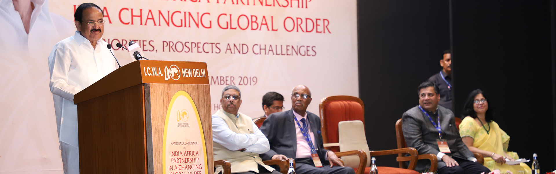 Shri M. Venkaiah Naidu, Hon'ble Vice President of India and President ICWA, delivering the Valedictory Address at National Conference on 'India-Africa Partnership in a Changing Global Order: Priorities, Prospects and Challenges', at Sapru House, 4 September 2019.