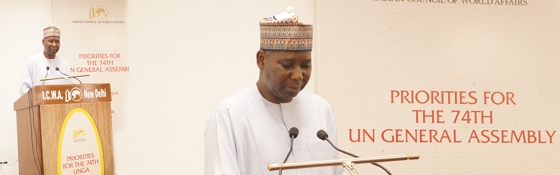 H.E. Prof. Tijjani Muhammad-Bande, President-elect of the 74th Session of United Nations General Assembly delivering a talk on Priorities for the 74th UN General Assembly, Sapru House, 2 September 2019.