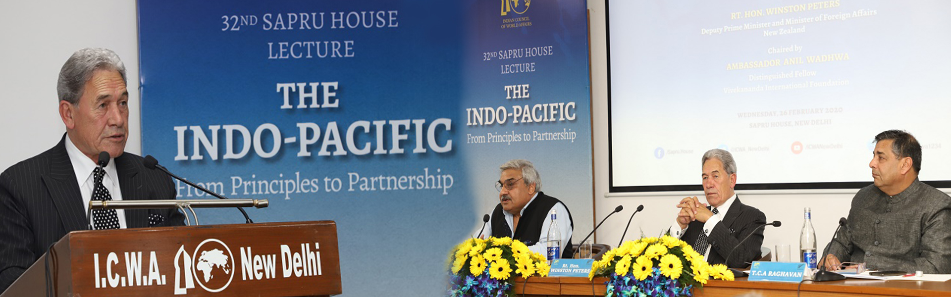 Rt. Hon. Winston Peters, Deputy Prime Minister and Minister of Foreign Affairs, New Zealand delivering 35th Sapru House Lecture on The Indo-Pacific: From Principles to Partnership, 26 February 2020